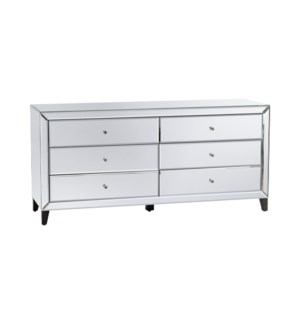 Hollywood Nickel and Mirror 6 Drawer Chest