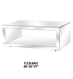Fletcher Mirrored Cocktail Table w/ Casters