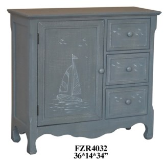 Mystic Harbor Grey Linen Sailboat 3 Drawer 1 Door Cabinet