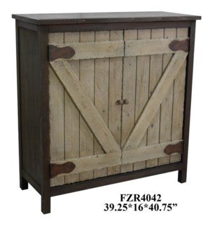 Farmers Branch Rustic Two-Tone Grey 2 Barn Door Cabinet
