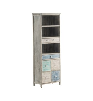 Key West Grey Driftwood and Multi Color Nautical 2 Drawer 2 Door Storage Cabinet