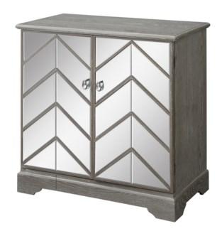 Lafayette Chevron Mirror and Wood 2 Door Cabinet