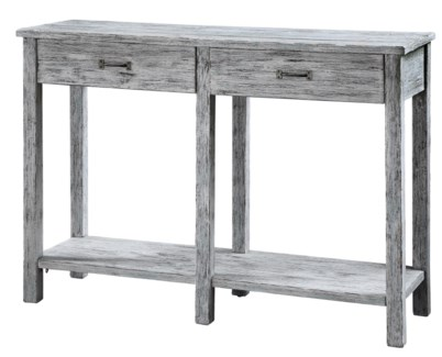 Ridgeland Distressed White Wood 2 Drawer Console