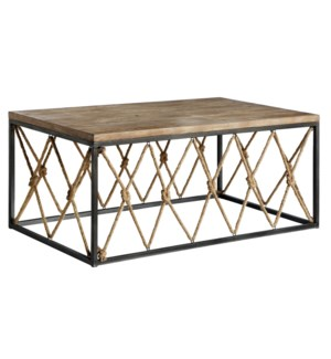 Bar Harbor Rustic Wood and Metal Rope Cocktail Table