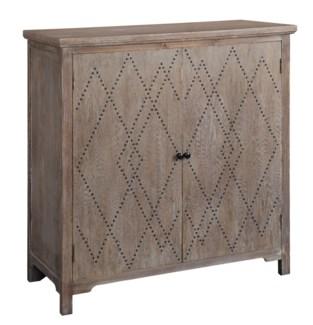 Dalton 2 Door Wood with  Diamond Pattern Nailhead Cabinet