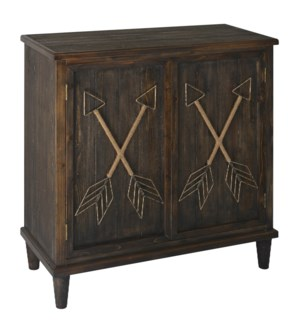 Nottingham Burnished Ebony Wood 2 Door Cabinet with Metal and Rope Arrows