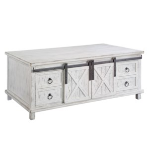 Covington Sliding Door White Wash Storage Cocktail Table