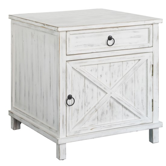Crestview Collection Covington White Wash 1 Drawer 1 Door End Table