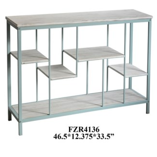 Key Largo Seafoam Metal and White Wash Wood Offset Console