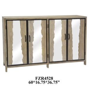 Metal and Mirror Live Edge Wood 4 Door Sideboard