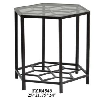 Lenox Hexagon Metal Design and Glass End Table