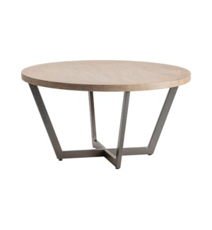 Tremont Slanted Metal and Wood Round Cocktail Table