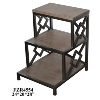 Casey Rectangle Metal and Wood Stairstep Chairside Table
