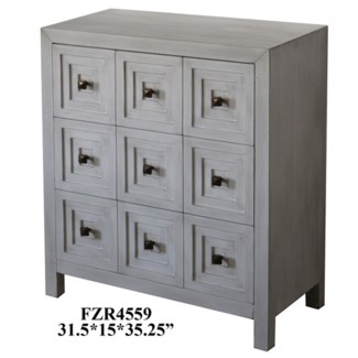 Dover 3 Drawer Recessed Square Pattern Brushed White Chest