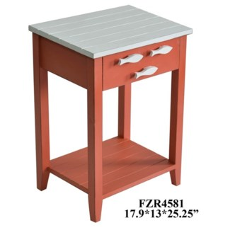 Coco Beach 1 Drawer Coral and White Accent Table w/ Fish Hardware