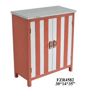 Coco Beach 2 Door Coral and White Cabinet w/ Flip Flop Hardware