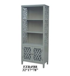 Stratford 2 Door Pale Grey Fretwork Bookcase