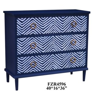 Pandora Indigo Blue and White Angled Design 3 Drawer Chest w/ Gold Hardware