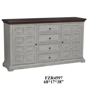 Farmingdale 2 Door 4 Drawer Raised Panel Aged White Sideboard with Distressed Wood Top