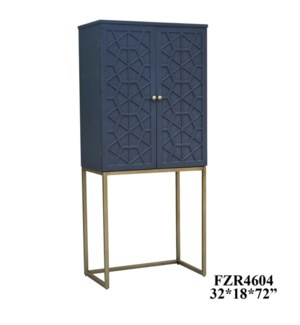 Graham 2 Door Tall Grey Fretwork Cabinet with Antique Gold Metal Base