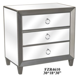 Sebastian Metallic Silver and Beveled Mirror 3 Drawer Chest