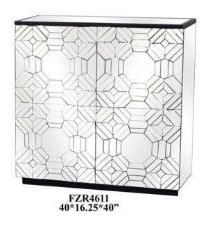 Millenium 2 Door Raised Pattern Beveled Mirror Cabinet