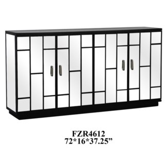 Hollywood Black and Beveled Panel Mirrored 4 Door Sideboard