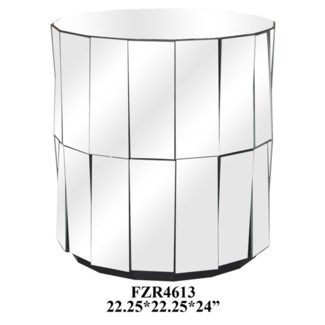 Millenium Round Angled Mirror Accent Table