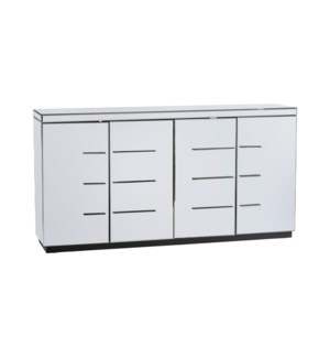 Melrose 4 Door Beveled Mirror Sideboard and Chrome Hardware