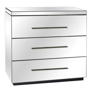 Melrose 3 Drawer Beveled Mirror Chest and Chrome Hardware