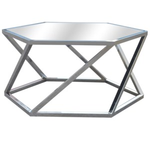 Melrose Chrome Hexagon Cocktail Table and Beveled Mirror