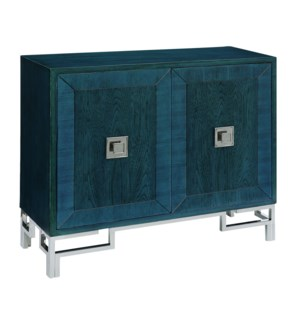 Cobalt Blue 2 Door Cabinet Brushed Nickel Hardware