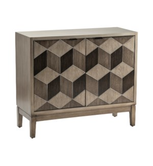 Humphrey Pewter Geometric Block Veneer 2 Door Cabinet