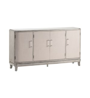 Marshall 4 Linen Door Acrylic Hardware Grey Wash Sideboard