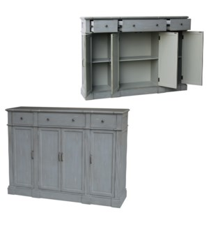 Hampton Crackled Grey 3 Drawer 4 Door Tall Sideboard