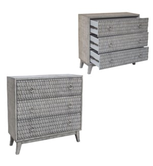 Maxwell 3 Pattern Drawer Brushed Parchment Finish