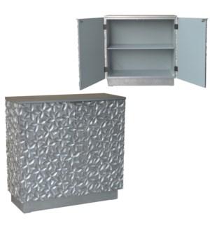 Alma 2 Flowered Door Silver Leaf Cabinet