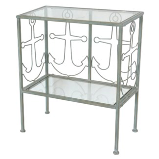 Harbor Town Metal Anchor and Glass Seafoam Green Accent Table