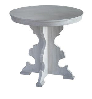 Quincy White Wash Carved Leg Accent Table