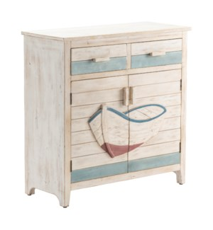 Galilee 2 Drawer 2 Door Dimensional Row Boat White Wash and Aqua Cabinet