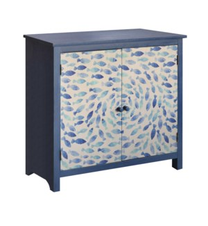 Destin Indigo School of Fish 2 Door Cabinet