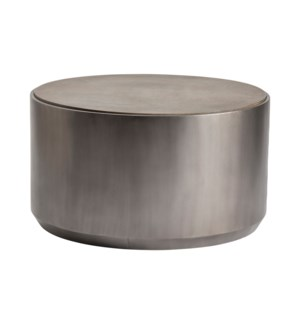 Trenton Round Gunmetal Cocktail Table with Grey Oak Top