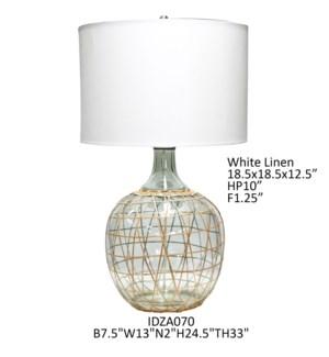 "33.25""H GLASS TABLE LAMP 1PCS UPS PACK 7.98'"