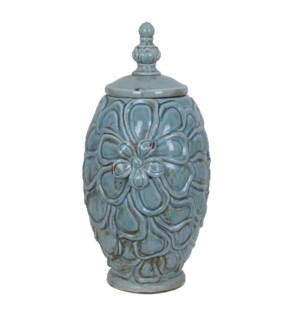 Large Flower Lidded Vase