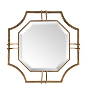 Henson Floating Octagonal Beveled Mirror in Antique Brass Frame