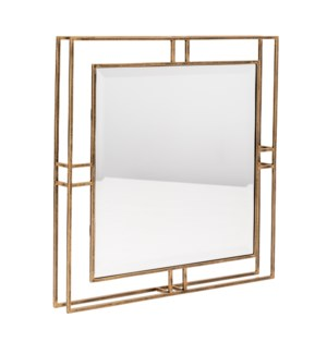 Henson Floating Square Beveled Mirror in Antique Brass Frame