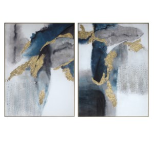 set of 2 Canvas Print with 50% Handpaint