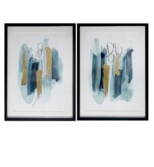 SET OF 2 FRAMED ART UNDER GLASS