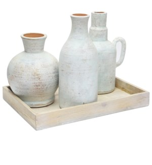 Isla Bottles & Tray,Set of 4