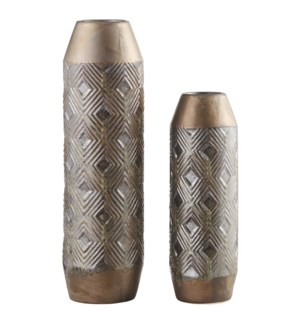 Bronze Geometrical Vases,Set of 2